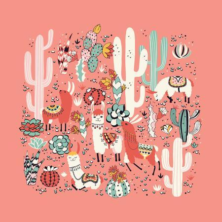 Lama in cactus jungles card