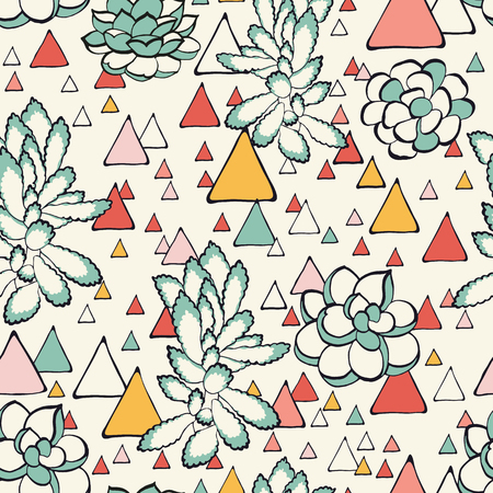 Succulent and triangles seamless pattern in vector. Multicolored geometric background. Good for posters, stickers, cards, notebooks and other childish accessories.