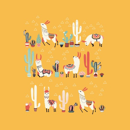 Happy llama with cactus in a pot. Vector illustration. Good for posters, stickers, cards, notebooks and other childish accessories. Vettoriali