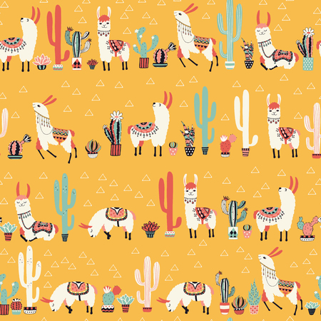 Happy lama seamless pattern