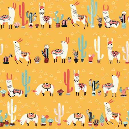 Happy lama seamless pattern