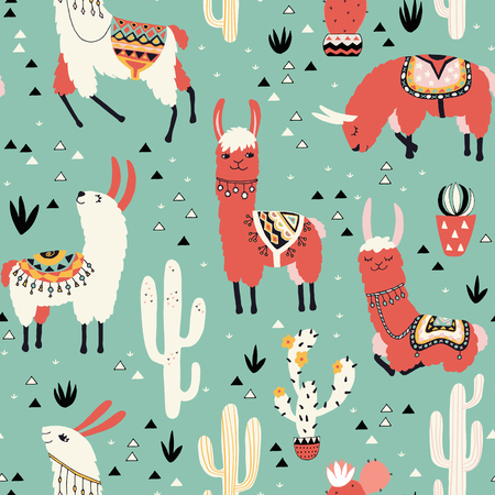 Llamas and cactus in a pot on green background. Seamless pattern with lovely llamas, flowers and cacti in vector.
