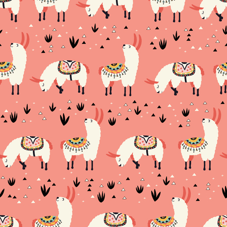 White Llamas on a pink background. Seamless pattern with lovely llamas, flowers and cacti in vector.