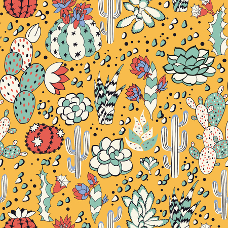Succulents on a yellow background. Seamless pattern with lovely succulents, flowers and cacti Stock Photo