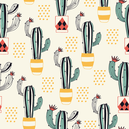 Cactus in a Pot seamless pattern with lovely flowering cacti in a flower pot. Vector illustration. Stock Photo