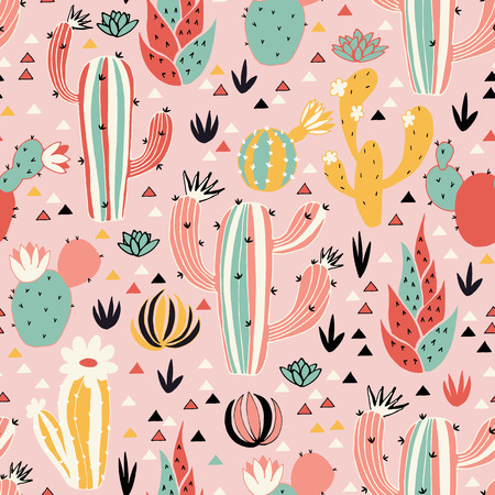 Pink Desert seamless pattern in vector. Lovely flowers, cacti and triangles on pink background.