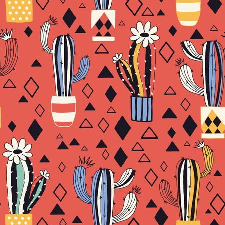 Cactus in a flower pot on red background. Seamless pattern with lovely cacti and triangles in vector.