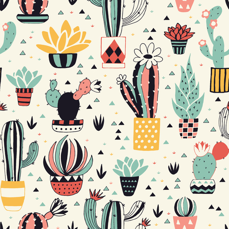 Cacti in a Flower Pot with geometric elements. Seamless pattern with lovely cactus, flowers and triangles in vector.