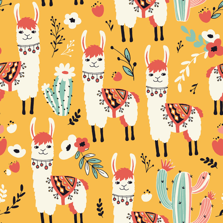 White Llama seamless pattern with lovely llamas, flowers and cacti