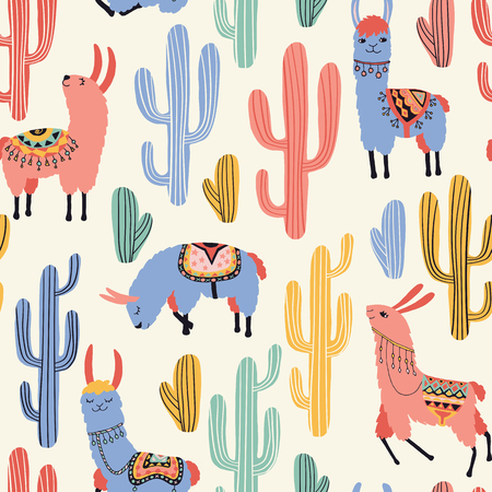 Colorful llamas and cacti on milky white background. Seamless pattern with lovely llamas, flowers and cactus in vector.