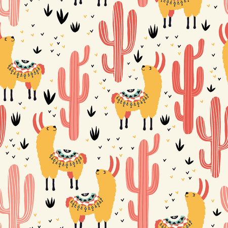 Yellow llamas and red cacti seamless pattern with lovely llamas and cacti in vector.