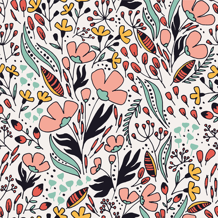 Floral pattern with leaves and fantasy flowers. Illusztráció