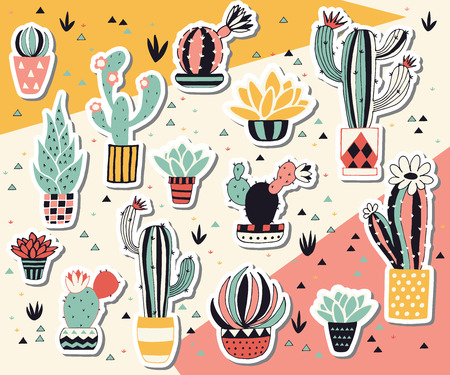Vector potted cactus stickers. Hand drawn illustration.