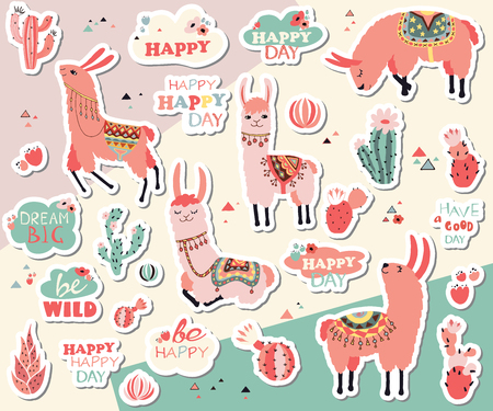 Vector stickers with lovely llamas, flowers and cacti and motivational stickers