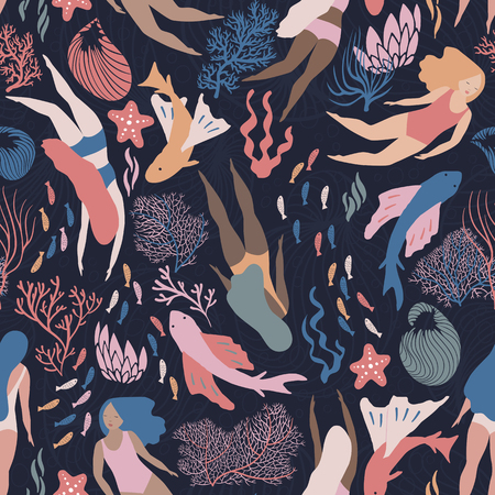 Busy ocean life with fish and like mermaid girls swimming among corals and sea weed. Dark bacground. Vector seamless pattern.
