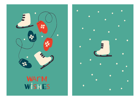 Christmas Holiday Greeting Cards with Skates and Mittens. Xmas winter poster collection Illusztráció