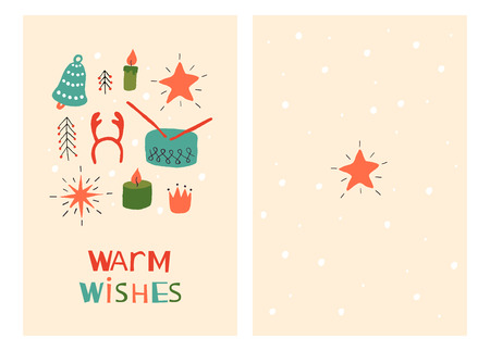 Christmas Holiday Greeting Cards with Toys. Xmas winter poster collection