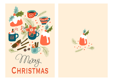 Christmas Holiday Greeting Cards with Pudding and Hot Drink. Xmas winter poster collection Illustration