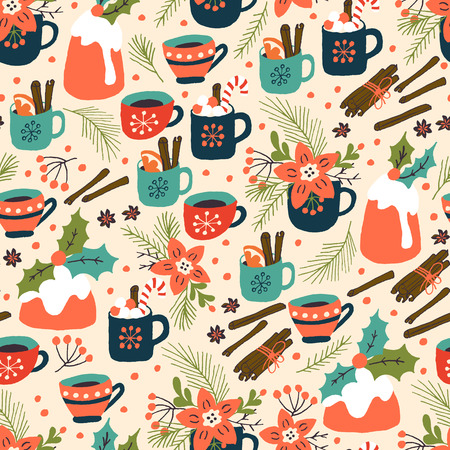 Christmas Holiday Seamles Pattern with Pudding and Hot Drink. Xmas winter poster collection Stock Photo