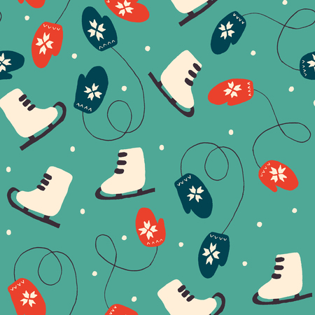 Christmas Holiday Seamless Patterns with Skates and Mittens. Xmas winter poster collection