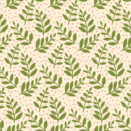 Christmas Holiday Seamless Pattern with Leaves. Xmas winter poster collection 写真素材
