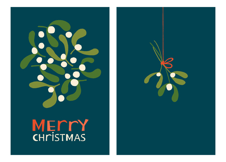 Christmas Holiday Greeting Cards with Mistletoe. Xmas winter poster collection 写真素材