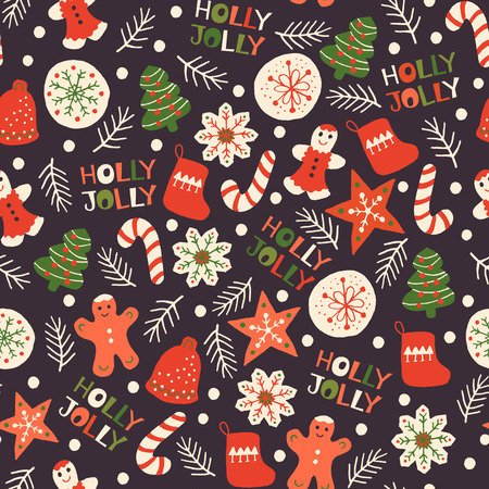 Holiday Seamless Pattern with Christmas Cookies. Xmas winter poster collection 写真素材