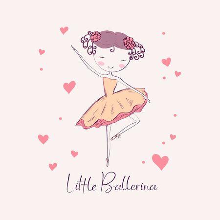 Hand drawn little ballerina dancer. Vector illustration.
