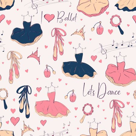 Seamless pattern with ballerina and accessories. Hand drawn design for Birthday and Baby Shower greeting cards, fabric, wrapping paper, invitation, stationery.