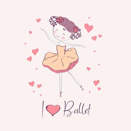 Hand drawn little ballerina. Vector illustration.