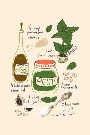 Pesto Recipe Tea Towel. Hand drown vector illustration.