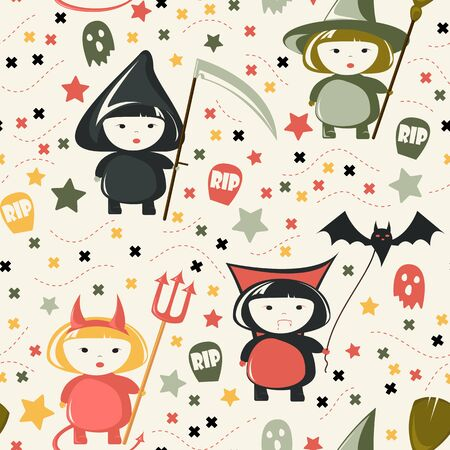 Halloween Costume seamless pattern. Childish background. Holiday design.