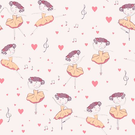 Seamless pattern with little  ballerina dancer.  Hand drawn design for Birthday and Baby Shower greeting cards, fabric, wrapping paper, invitation, stationery. Vector illustration.