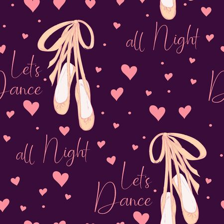 Seamless pattern with pointe shoes for ballerina.  Hand drawn design for Birthday and Baby Shower greeting cards, fabric, wrapping paper, invitation, stationery. Vector illustration.