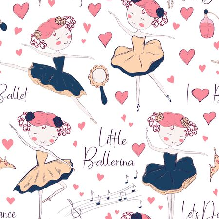 Seamless pattern with ballerina and accessories.  Hand drawn design for Birthday and Baby Shower greeting cards, fabric, wrapping paper, invitation, stationery. Vector illustration.