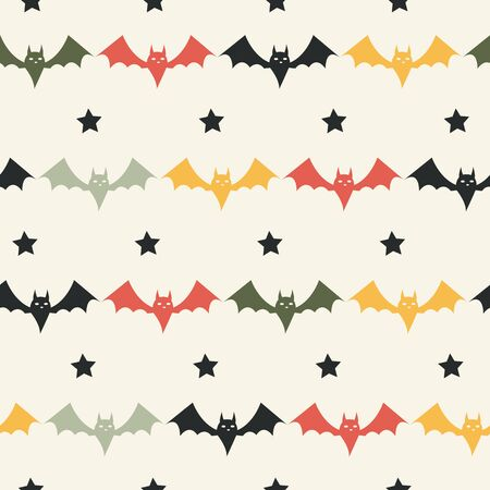 Halloween Bat Seamless Pattern. Childish background. Holiday design.