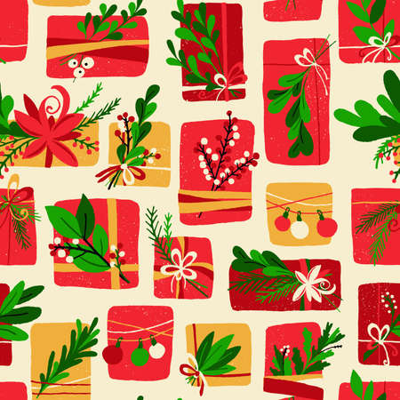 Winter Floral Gift Box Christmas Pattern