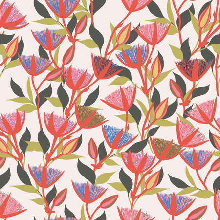 Moody Flowers seamless pattern 矢量图像