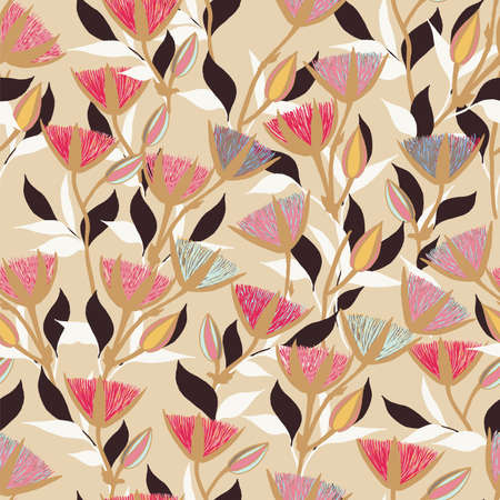 Moody Flowers seamless pattern Stock Illustratie