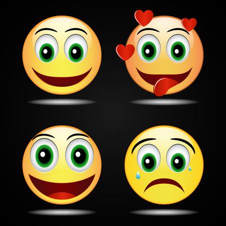 inlove: Set smile happy yellow smile  icon, vector, funny Illustration