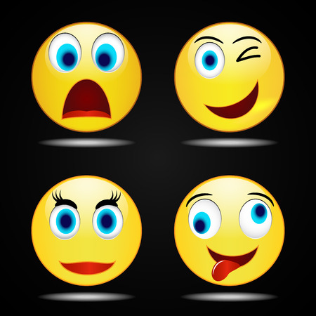 iconography: Set smile happy yellow smile  icon, vector, funny Illustration