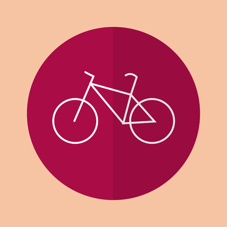 burgundy background: bike in flat design on a burgundy background