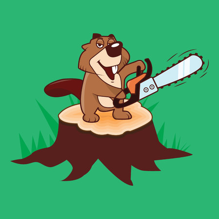 Beaver holding a chainsaw standing on a stump on a green background, illustration