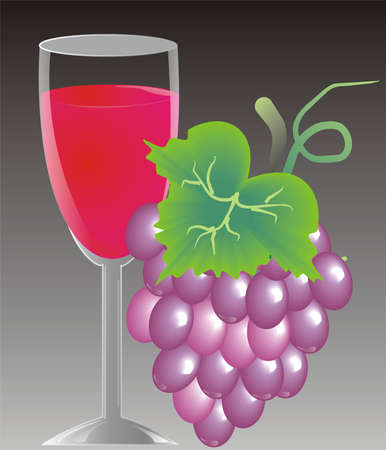A glass of wine with grapes