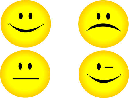 cordialit�: Quattro emoticon  Vettoriali