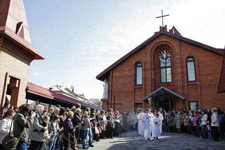 Novosibirsk, April 17, 2011 - Palm Sunday in the Roman Catholic Church in Novosibirsk
