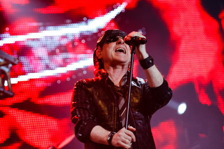 Chelyabinsk Russia - April 22, 2012: Concert of the German rock band Scorpions in the Palace of Sports Yunost. In the photo: vocalist and guitarist Klaus Meine Редакционное