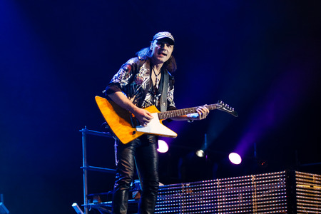 """Chelyabinsk Russia - April 22, 2012: Concert of the German rock band Scorpions in the Palace of Sports """"Yunost"""". Editorial"""