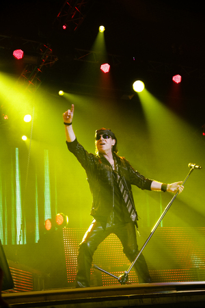 Chelyabinsk Russia - April 22, 2012: Concert of the German rock band. Scorpions in Sports Palace