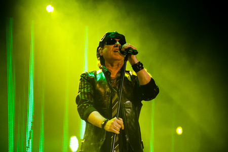 Chelyabinsk Russia - April 22, 2012: Concert of the German rock band Scorpions in the Palace of Sports Yunost. In the photo: vocalist and guitarist Klaus Meine 新聞圖片
